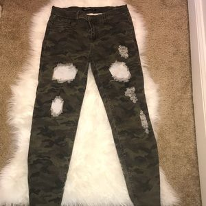 Distressed Camo Jeans